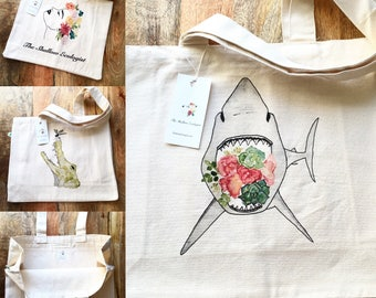 100% Organic Cotton Large Tote Bag with Pockets