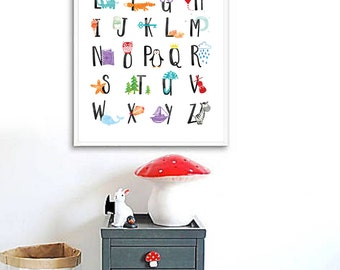 Alphabet Print, Alphabet Nursery Wall Art, Alphabet Poster ABC Wall Art Kids Room Decor Animal Nursery Decor Kids Wall Art Printable ABC Art