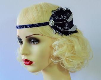 20s Flapper Headband Navy and White Ivory Feather Headpiece 1920s Fascinator Art Deco Diamante Crystal Pearl Glitter Velvet Ribbon