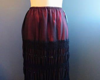 Black and Red Chiffon Skirt S/M