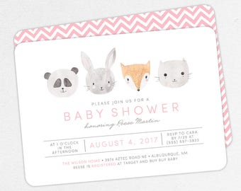 Woodlands Baby Shower Invitation, Pink Baby Shower, Girl Baby Shower, Printable Invitation, PDF Invitation, Animal, Watercolor, Fox, Panda