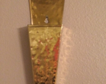 Vintage Brass Wall Long Match Holder made in US A by Denbigh Metal of Virginia
