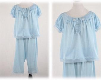 1960s Blue Nylon Cropped Pajamas by Seamprufe 38