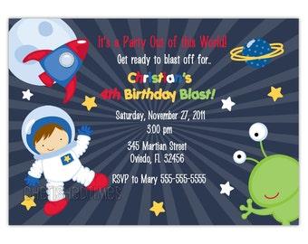 Little Astronaut Birthday Party Invitations