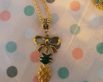 Gold pineapple  necklace. Rockabilly Psychobilly