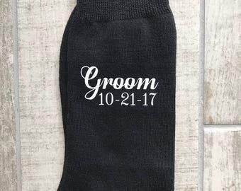 Groom socks, groomsmen socks, personalised socks, groom and date personalised socks, usher, bestman, just in case you get cold feet socks