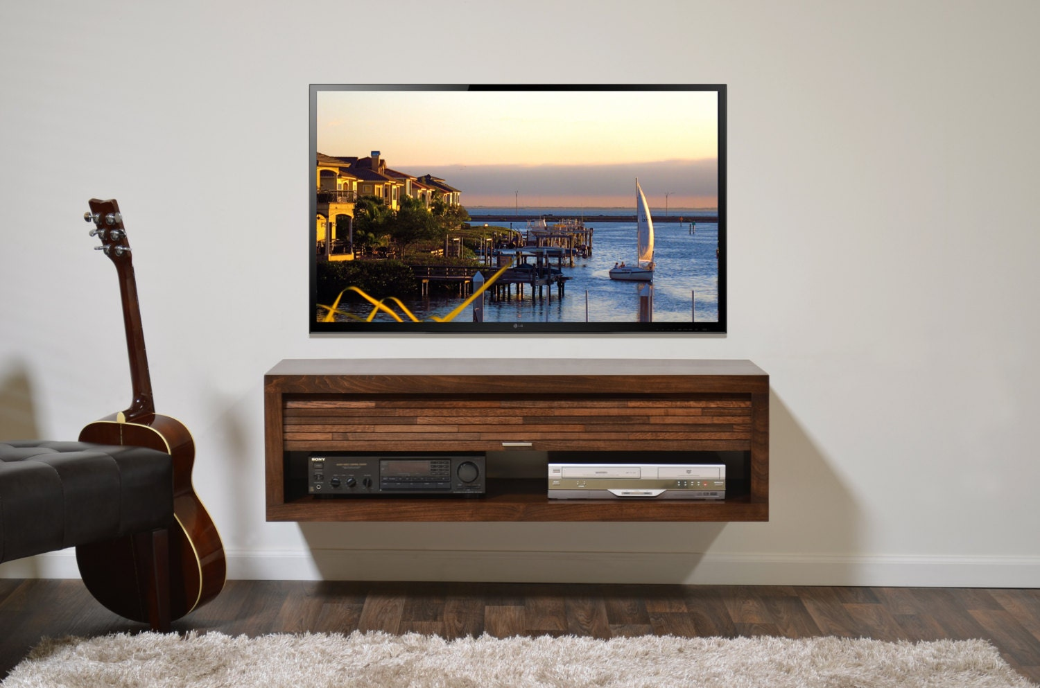 Floating tv stand eco geo mocha for Pages to buy online
