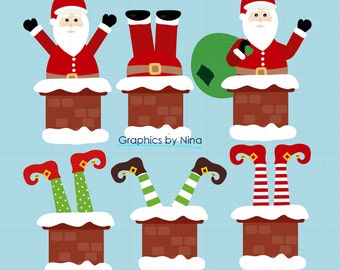 INSTANT DOWLOAD  Santa Claus Chimney Clipart Scrapbook for Personal and Commercial Use