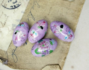 Porcelain Focal Beads | 4 Hand Painted Floral Oval Beads | Large 26mm x 15mm | Flowers & Butterflies | Lavender | Pink, White, Green, Gold