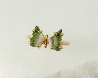 Gold Emerald Green Tourmaline Butterfly Ring - Watermelon Tourmaline - Pink Tourmaline, Butterfly Jewelry