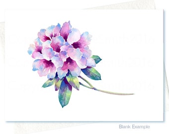 Watercolour RHODODENDRON SAPPHO Flower Art Card, Original Watercolour Flower Painting, Handmade Printed Blank Original Greeting Card