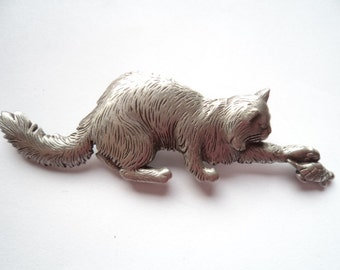 Vintage Signed JJ  Silver pewter Cat playing with Tortoise Brooch/Pin