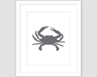 Slate Dark Gray Crab on White Print, Nautical Wall Art, Beach Decor, Modern Art, Instant Download, DIY, Printable
