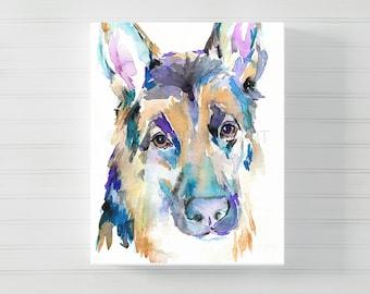 German Shepherd Canvas Art, Canvas Dog Art, Watercolor Dog on Canvas, German Shepherd Painting, Dog Painting, Watercolor Dog Print, Dog Art