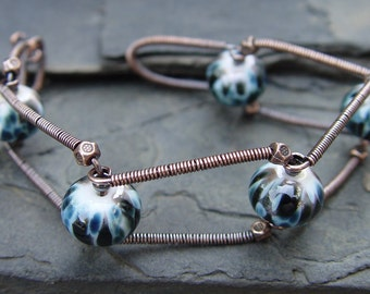 Industrial Revolution - Lampwork and Copper Bracelet Urban Chic Handmade