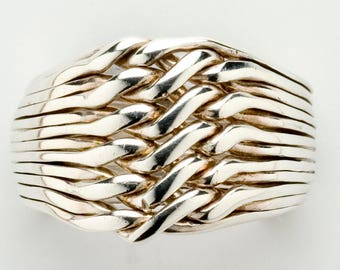 Ladies 12 Band Sterling Silver or Gold Chain Puzzle Ring 12CH