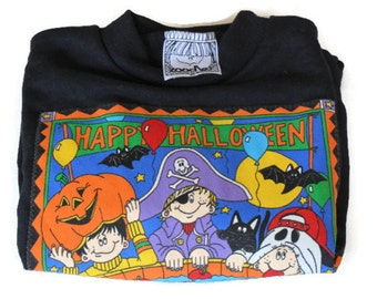 Bobbing for Apples - Vintage Halloween Applique Sweatshirt from Zoodles Size 2T