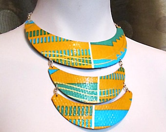 Women's colorful African fabric necklace three layer bib necklace