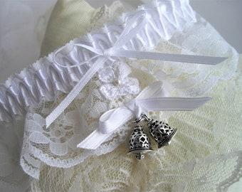 White Shamrock Lace Boudoir Garter Irish Keepsake Choose Your Size Tradition Wedding Bells History Green White Blue by HandcraftUSA