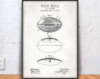 Sports blueprint etsy foot ball patent print football poster football printable football blueprint football decor malvernweather Choice Image