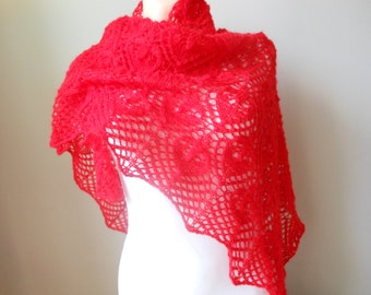 Lace shawl mohair yarn  red, hand knitted