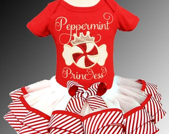 Peppermint Princess Holiday Ribbon Tutu Outfit