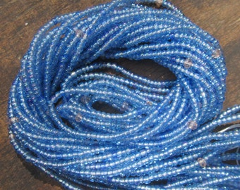 II blue colors waist beads with crystals, stranded on cotton thread, 42/44 inches, Fair Trade