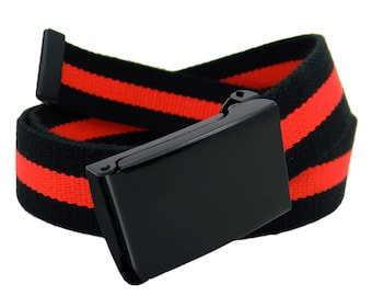 Military Style Flip Top Black Belt Buckle with Canvas Web belt Nickle Free