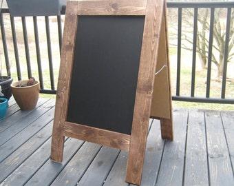 Ready to ship Rustic two sided dark walnut stained chalkboard sign chalkboard easel sandwich chalkboard sidewalk sign A-frame farmhouse
