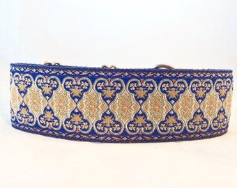 2 inch dog collar, blue collar, geometric, greyhound, hound, lurcher, martingale, single loop, whippet, saluki, soft, deerhound