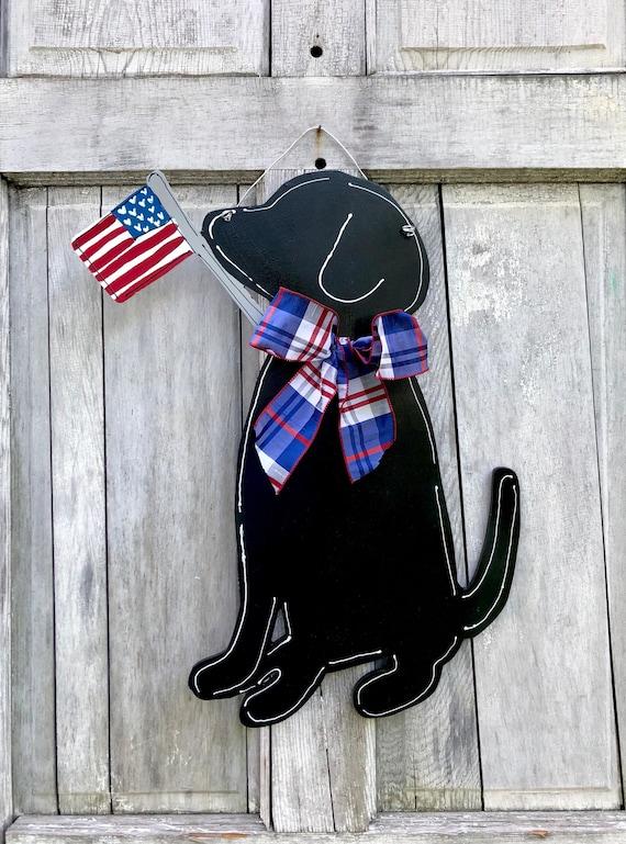 4th of July door hanger, labrador door hanger, summer door hanger, dog with flag sign, Hand painted, personalized, custom, dog, door hanger