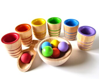 Rainbow Cup and Ball Game - Montessori Colour Sorting Cup and Balls - Sort and Scoop Berries and Bowls Rainbow Toy