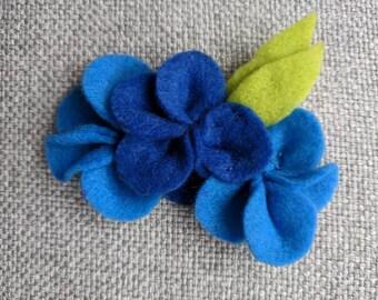 Blue Felt Flower Brooch