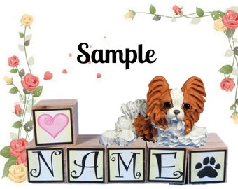 Red and White Papillon dog PERSONALIZED with your dog's name on blocks by Sally's Bits of Clay
