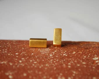 22K Gold Plated Rectangle Earrings Geometric Stud Earrings Minimalist Earrings Brass Earrings Valentine's Day Sale