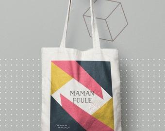 X414Y Tote bag Mama hen, cotton bag, beach bag, tote bag, computer bag, shopping bag, bag courses, shopping bag.
