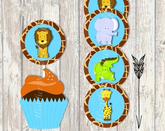 Zoo/Jungle Digital Circles- Tags, Stickers, or Cupcake Toppers