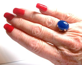 """Agate ring, blue agate ring, agate cabochon ring, solitaire ring, anniversary, bold blue, s 6 1/2   """"Misty Blue"""""""