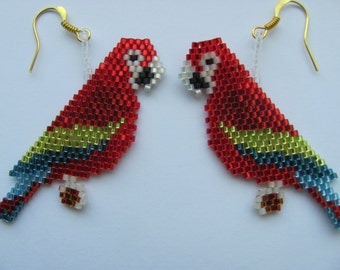 Hand Beaded  Macaw Parrot earrings