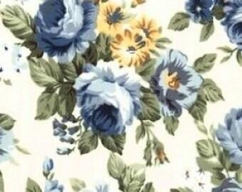 Blue Rose Bouquet Cotton Floral Fabric