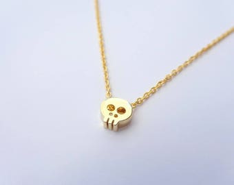 Dainty Gold Necklace, Delicate Gold Necklace, Dainty Necklace, Simple Gold Necklace, Gold Jewelry, Layering Jewelry Gold Tiny Skull Necklace