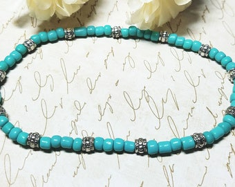 Ankle Bracelet, Turquoise Anklet, Stretch Anklet, Turquoise Stretch Anklet, Beach Anklet
