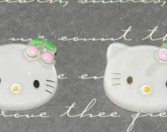 2 cabochons resin Cat Head child 14x17mm