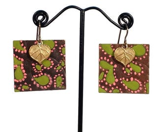 Paisley, Leaf, Leaves, Pink, Green, Boho Earrings, Pink Green, Nature Jewelry Dangle Earrings Brass Earrings Leaf Earrings,  Paisley Pattern