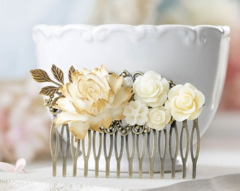 Vintage Style Bridal Hair Comb Cream White Ivory Flower Antique Gold Leaf Branch Hair Comb Rustic Vintage Wedding Country Chic Large Comb