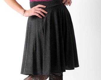 Dark grey jersey skirt, Grey womens stretchy skirt, Dark grey supple skirt, Casual jersey skirt, Your size, MALAM