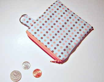 Blue and Pink Polka Dot Coin Pouch