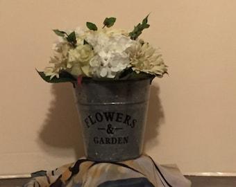 Arrangement White Galvanized Bucket