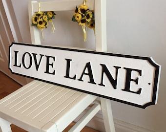Shabby Chic Street Sign Vintage Bespoke Road Sign Interior Design Love Lane Valentine Gift