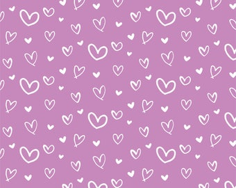 Hand drawn Hearts on Lilac - Permanent Glossy or Permanent Matte Vinyl